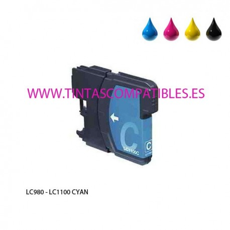 Tinta compatible BROTHER LC980 / LC1100 - Cyan - 12 ML