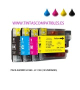 Pack ahorro de Cartucho compatible BROTHER LC980 - LC1100: NEGRO - CYAN - MAGENTA - AMARILLO - 28 y 12 ML