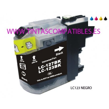 Cartucho compatible BROTHER LC123BK / LC121BK - Negro - 20 ML