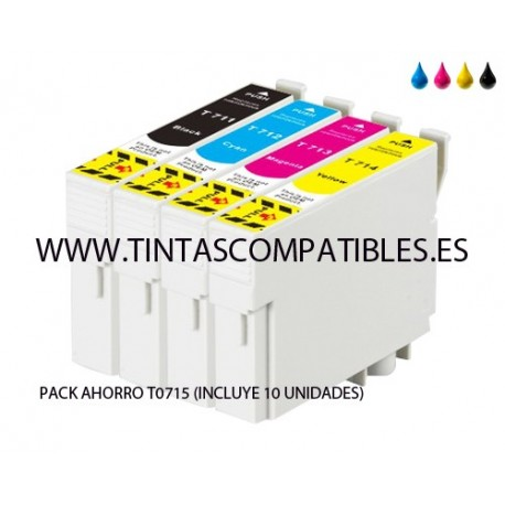 Pack ahorro de Cartucho compatible EPSON T0715: T0711 - T0712 - T0713 - T0714 - 14 ML